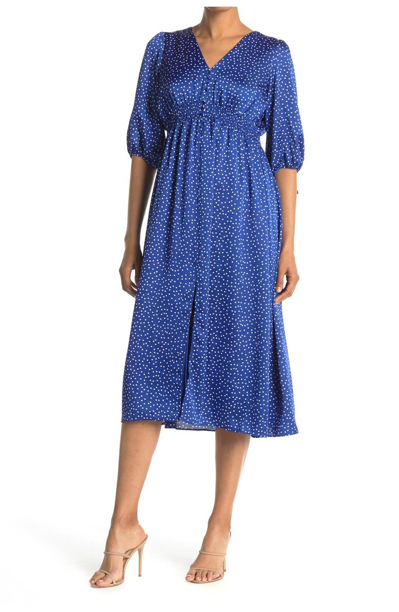 TAYLOR DRESSES Printed Button Front Maxi Dress, Main, color, AZURE IVORY