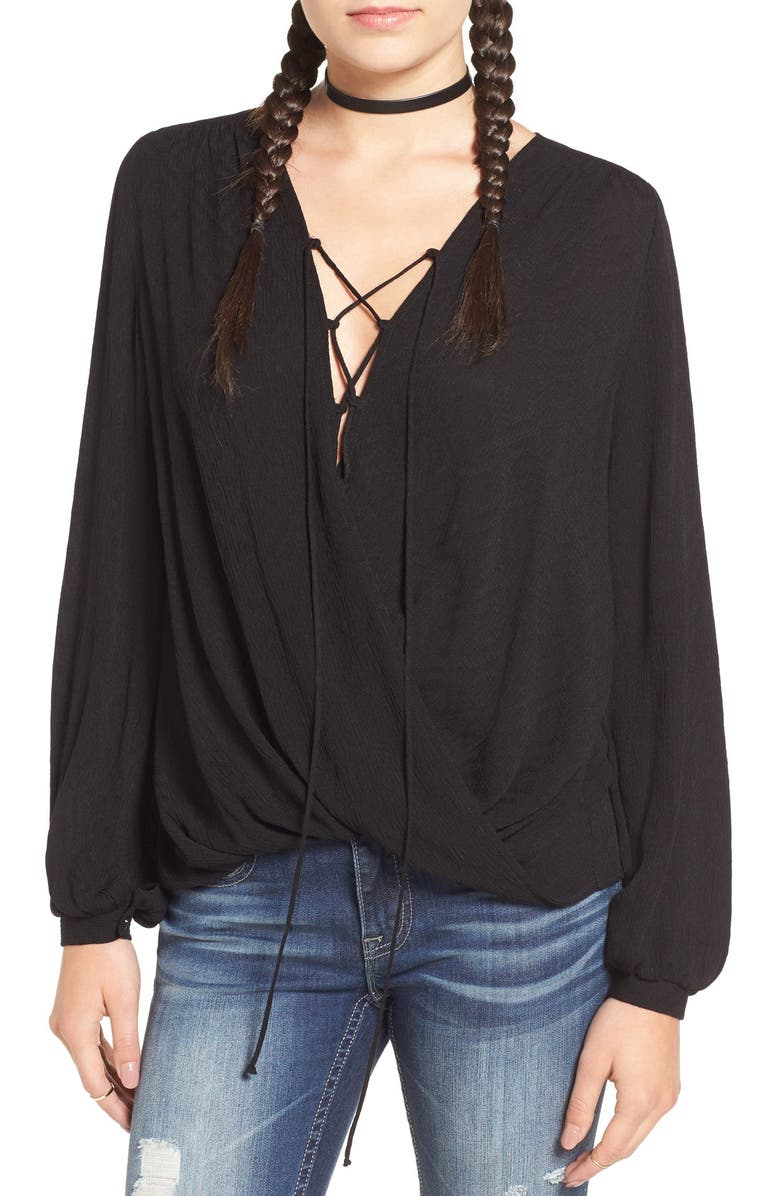 ALL IN FAVOR Lace-Up Surplice Blouse, Main, color, BLACK