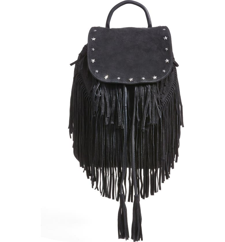 MAISON SCOTCH Fringed Suede Backpack, Main, color, 001