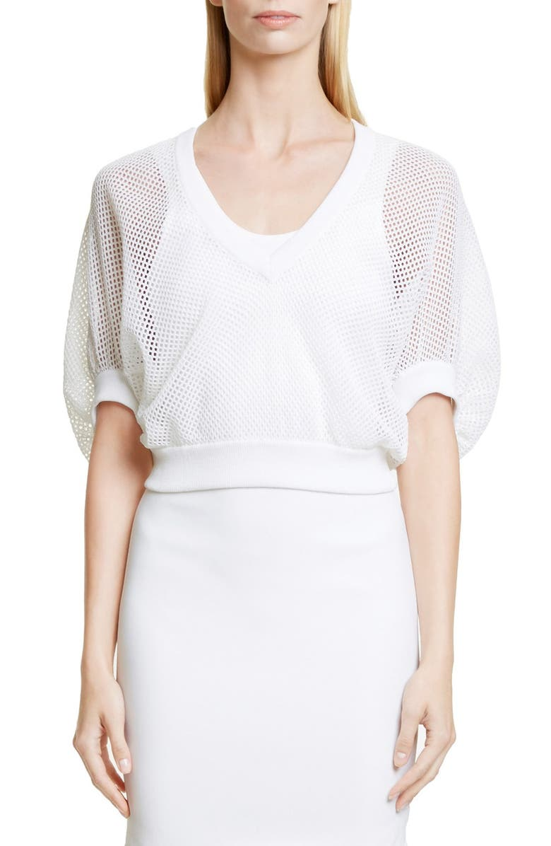GIVENCHY Victorian Sleeve Knit Mesh Top, Main, color, 100