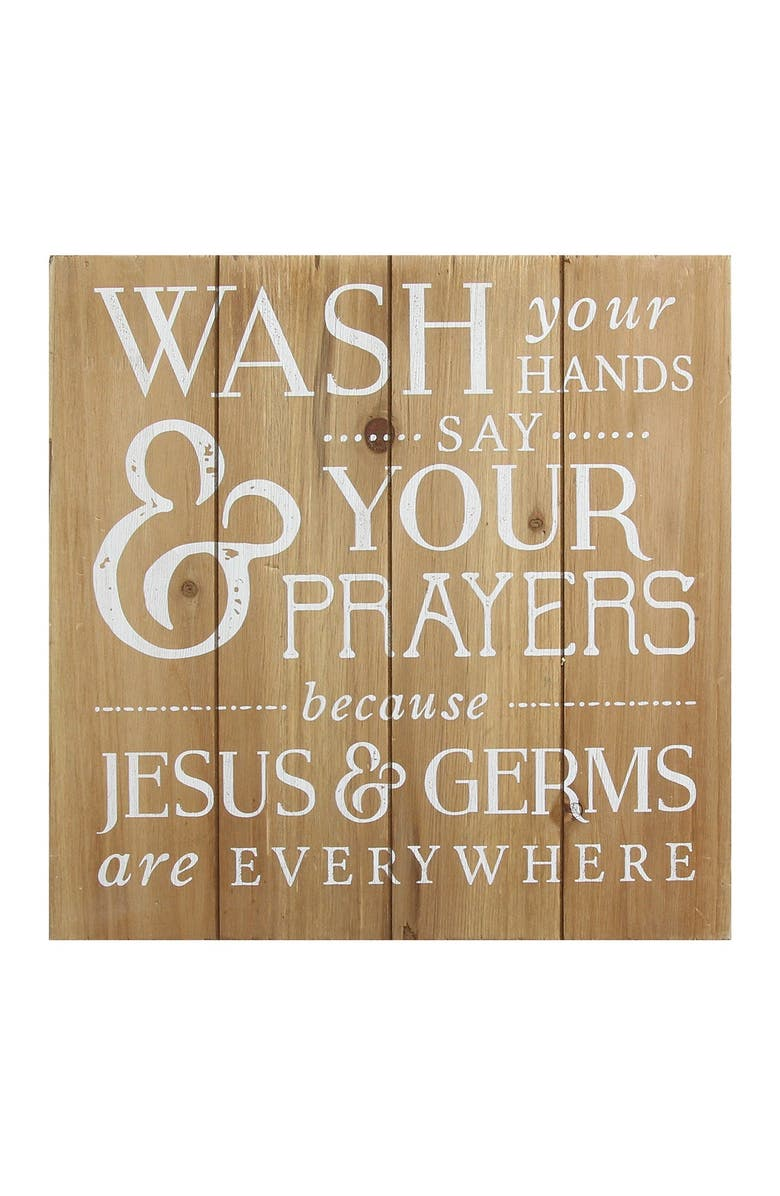 STRATTON HOME DECOR Light Natural Wood/White Wash Your Hands, Say Your Prayers Bath Wall Art, Main, color, LIGHT NATURAL WOOD/WHITE