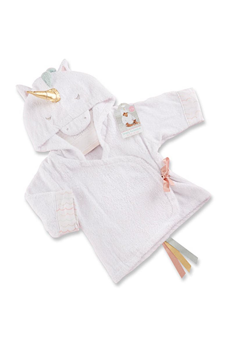 BABY ASPEN Simply Enchanted Unicorn Hooded Spa Robe, Main, color, OPEN WHITE