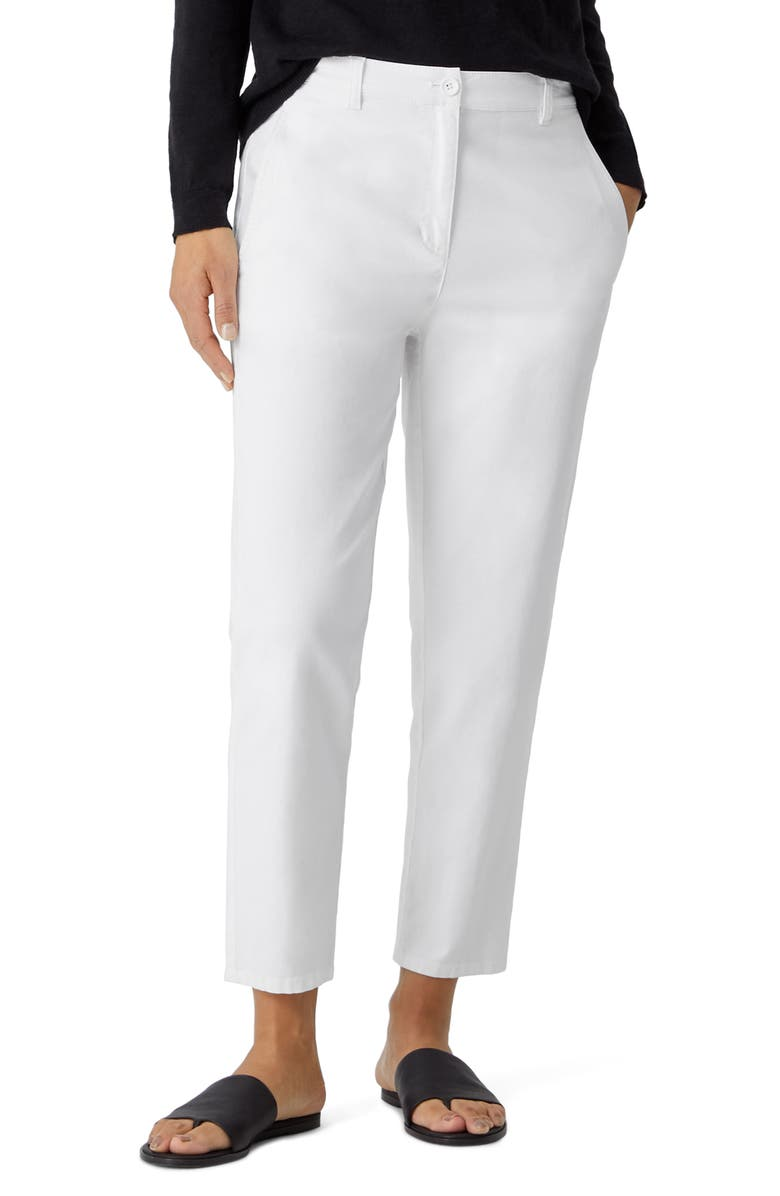 EILEEN FISHER Organic Cotton & Hemp High Waist Tapered Ankle Pants, Main, color, WHITE