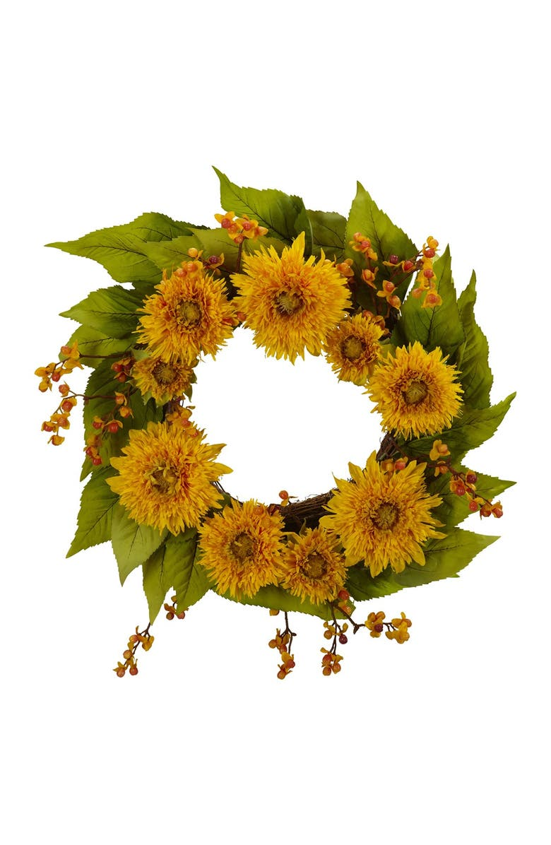 """NEARLY NATURAL 22"""" Golden Sunflower Wreath, Main, color, YELLOW"""