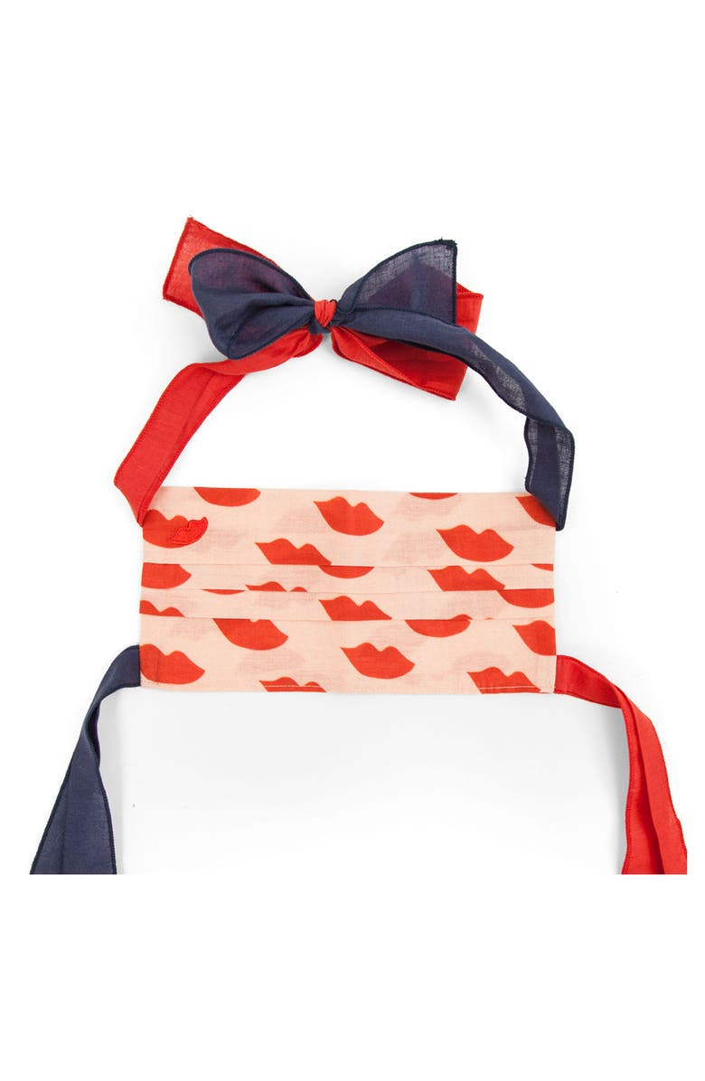CLARE V. Bowie Adult Print Pleated Tie Strap Cotton Face Mask, Main, color, BLUSH W/ POPPY LIPS