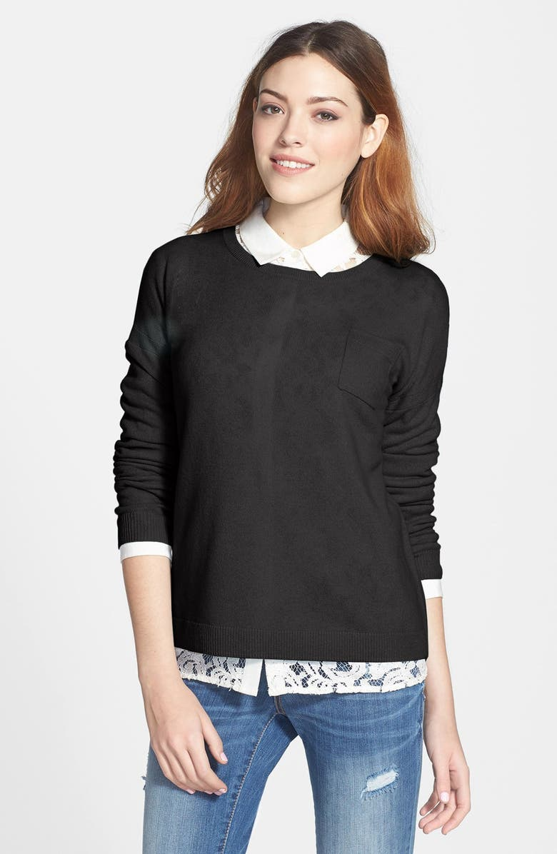HALOGEN<SUP>®</SUP> Lightweight Cashmere Crewneck Sweater with Pocket, Main, color, 001