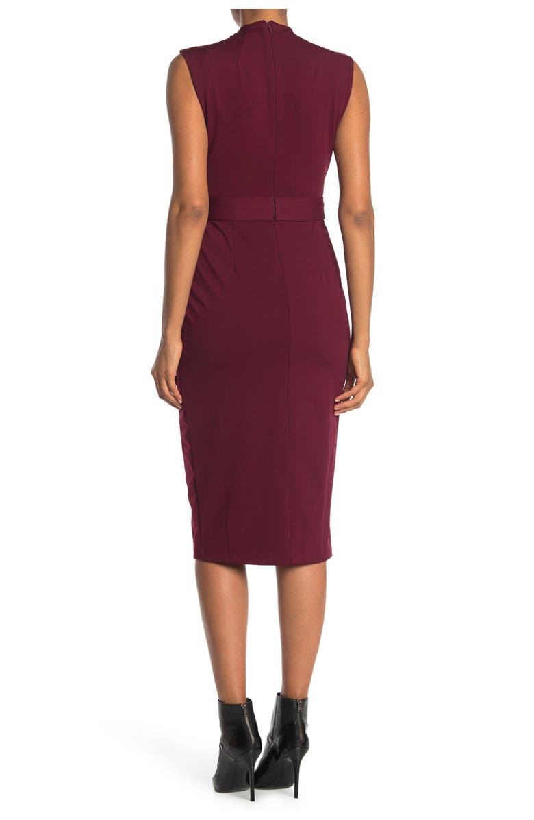 ALEXIA ADMOR Mock Neck Belted Sheath Dress, Main, color, RED MAPLE