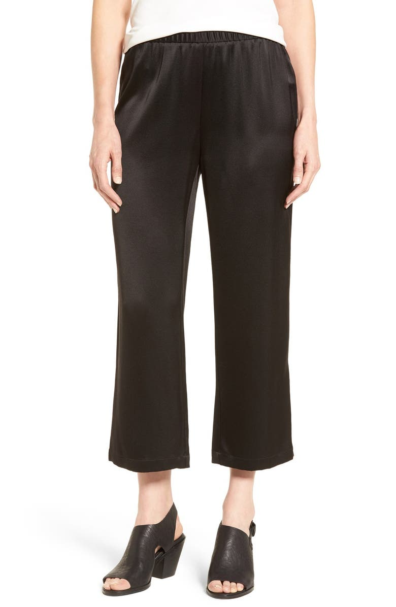 EILEEN FISHER Silk Satin Crop Pants, Main, color, 001