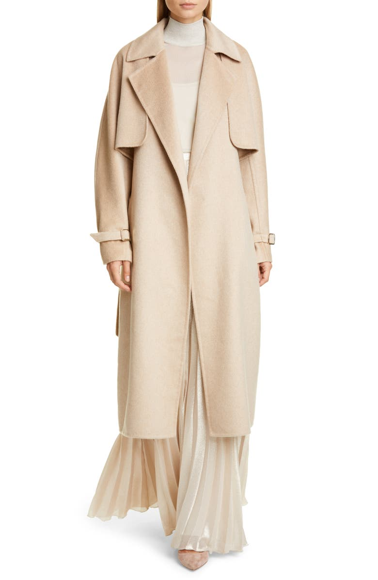 MAX MARA Agar 2-in-1 Double Face Camel Hair & Cashmere Trench Coat, Main, color, 250