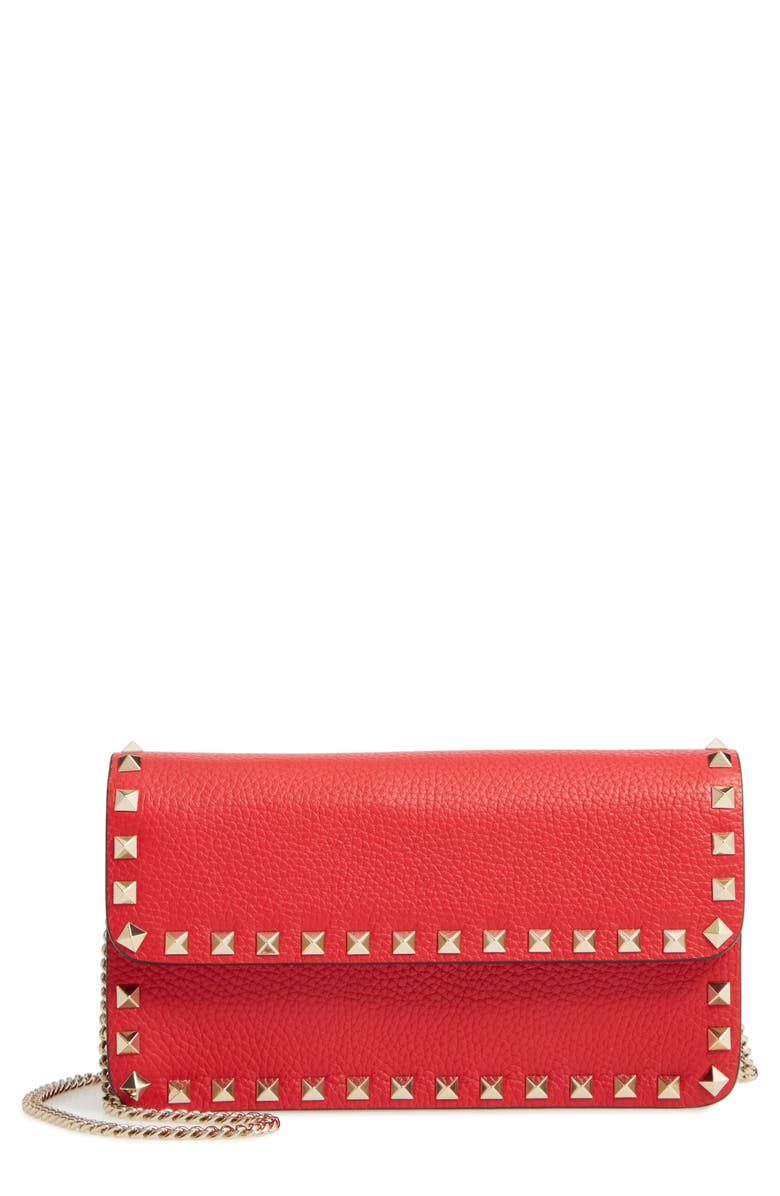 VALENTINO GARAVANI Rockstud Leather Wallet on a Chain, Main, color, ROUGE PUR