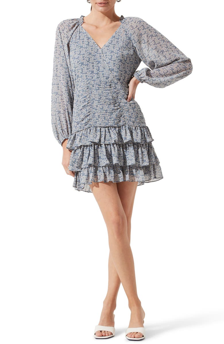 ASTR THE LABEL Tiered Ruffle Minidress, Main, color, BLUE MULTI FLORAL
