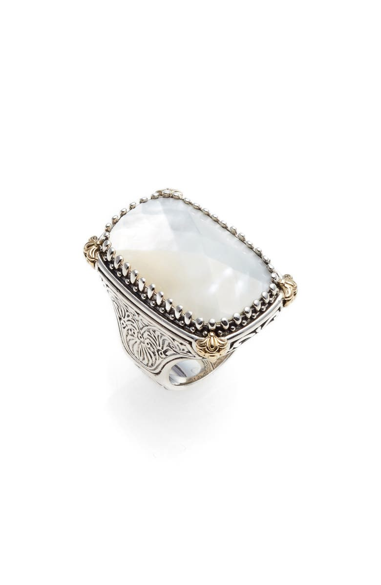 KONSTANTINO Selene Mother-of-Pearl Ring, Main, color, SILVER/ GOLD/ MOTHER OF PEARL
