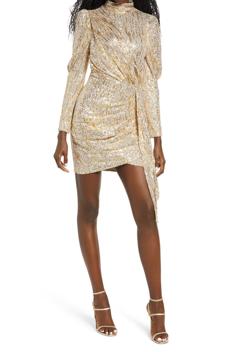 SAYLOR Bianca Gold Foiled Sequin Long Sleeve Minidress, Main, color, SILVER/ GOLD