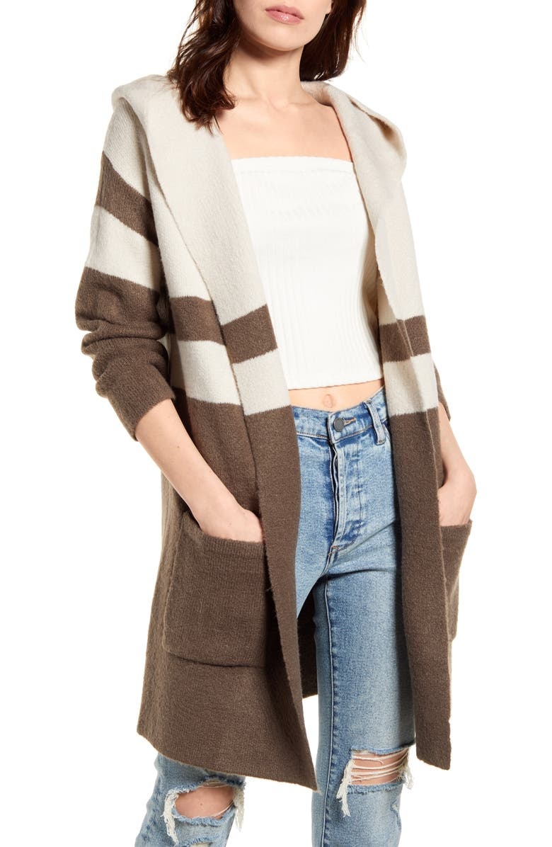 LULUS Carlsbad Hooded Cardigan Sweater, Main, color, 020