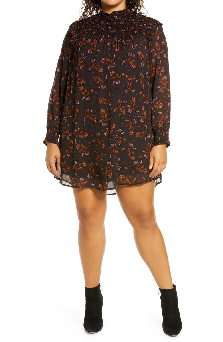 SANCTUARY Run Wild Long Sleeve Dress, Main, color, MICRO PAISLEY