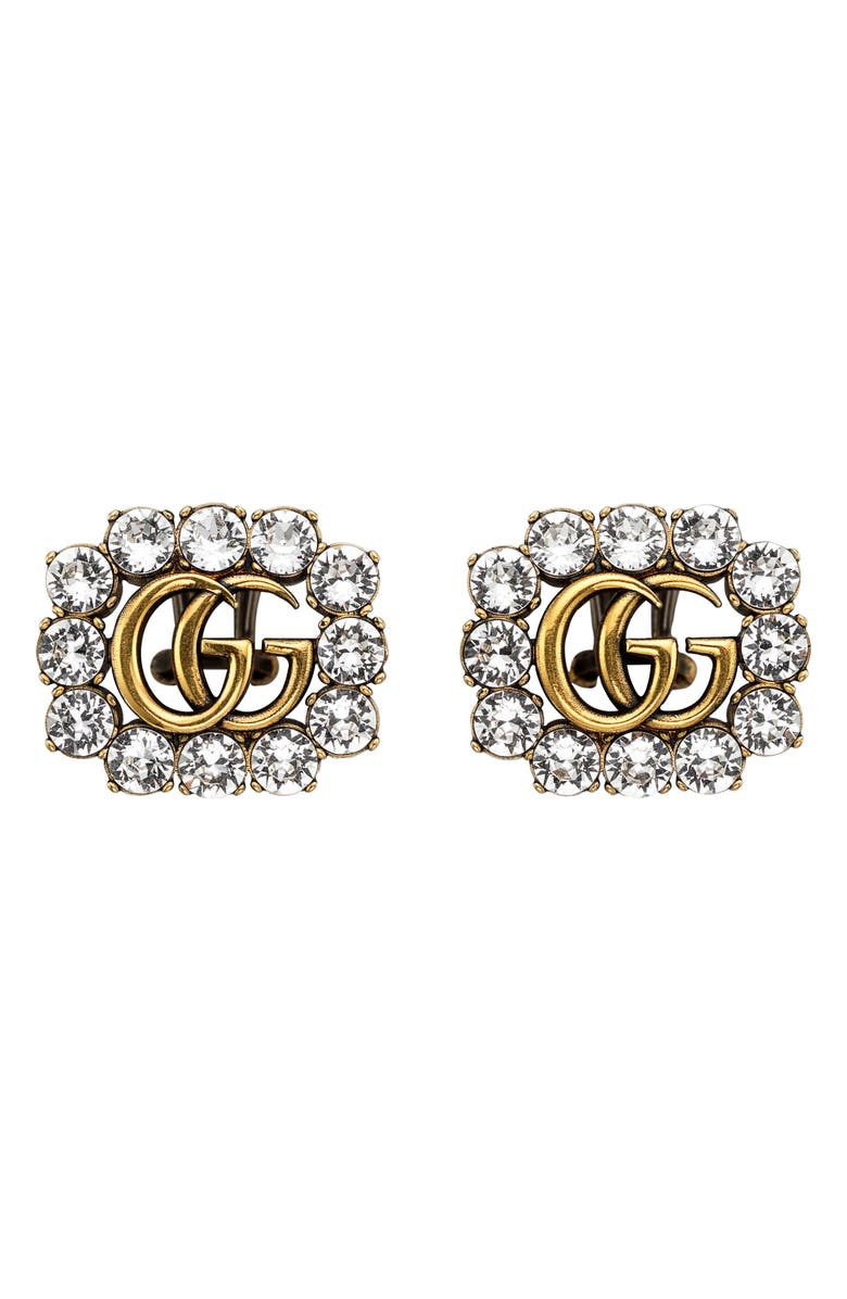 GUCCI GG Crystal Stud Earrings, Main, color, GOLD/ CRYSTAL