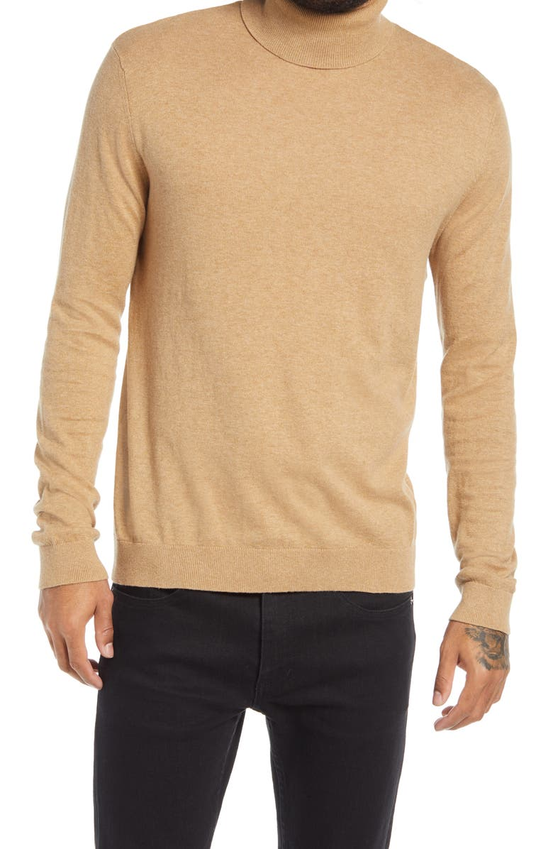 TOPMAN Solid Cotton Turtleneck Sweater, Main, color, TAUPE/BEIGE