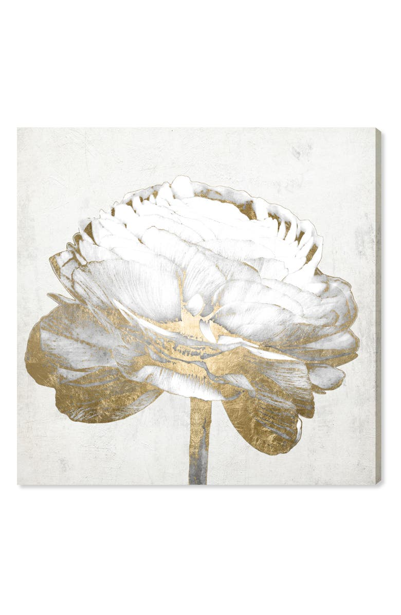 OLIVER GAL Gold & Light Floral II Canvas Wall Art, Main, color, METALLIC GOLD
