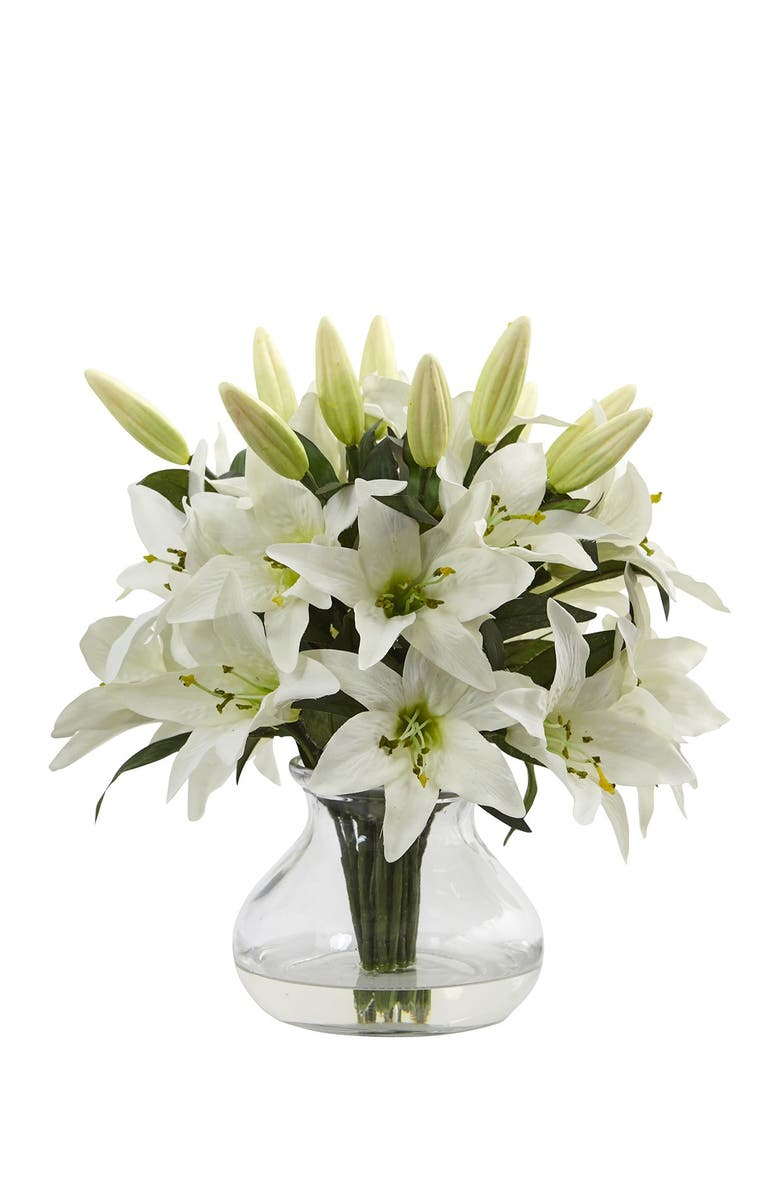 NEARLY NATURAL White Lily Silk Arrangement with Glass Vase, Main, color, WHITE