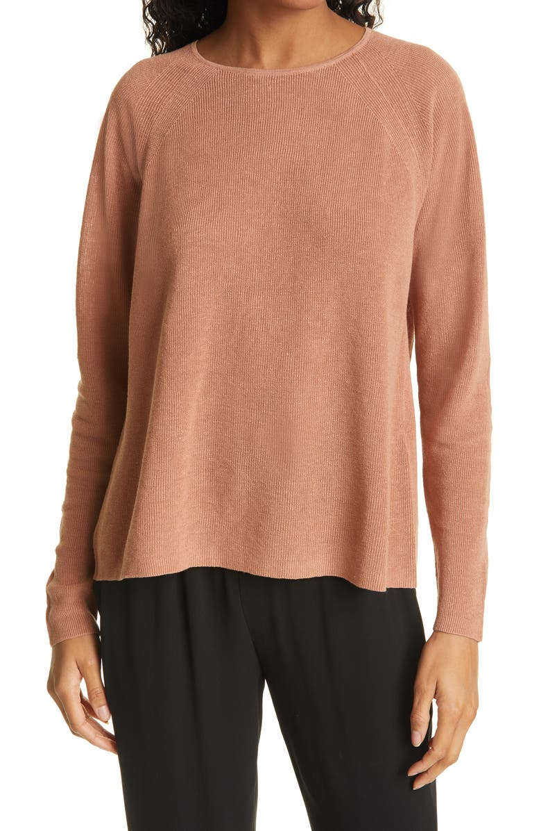 EILEEN FISHER Organic Linen & Cotton Raglan Sweater, Main, color, TERRA COTTA