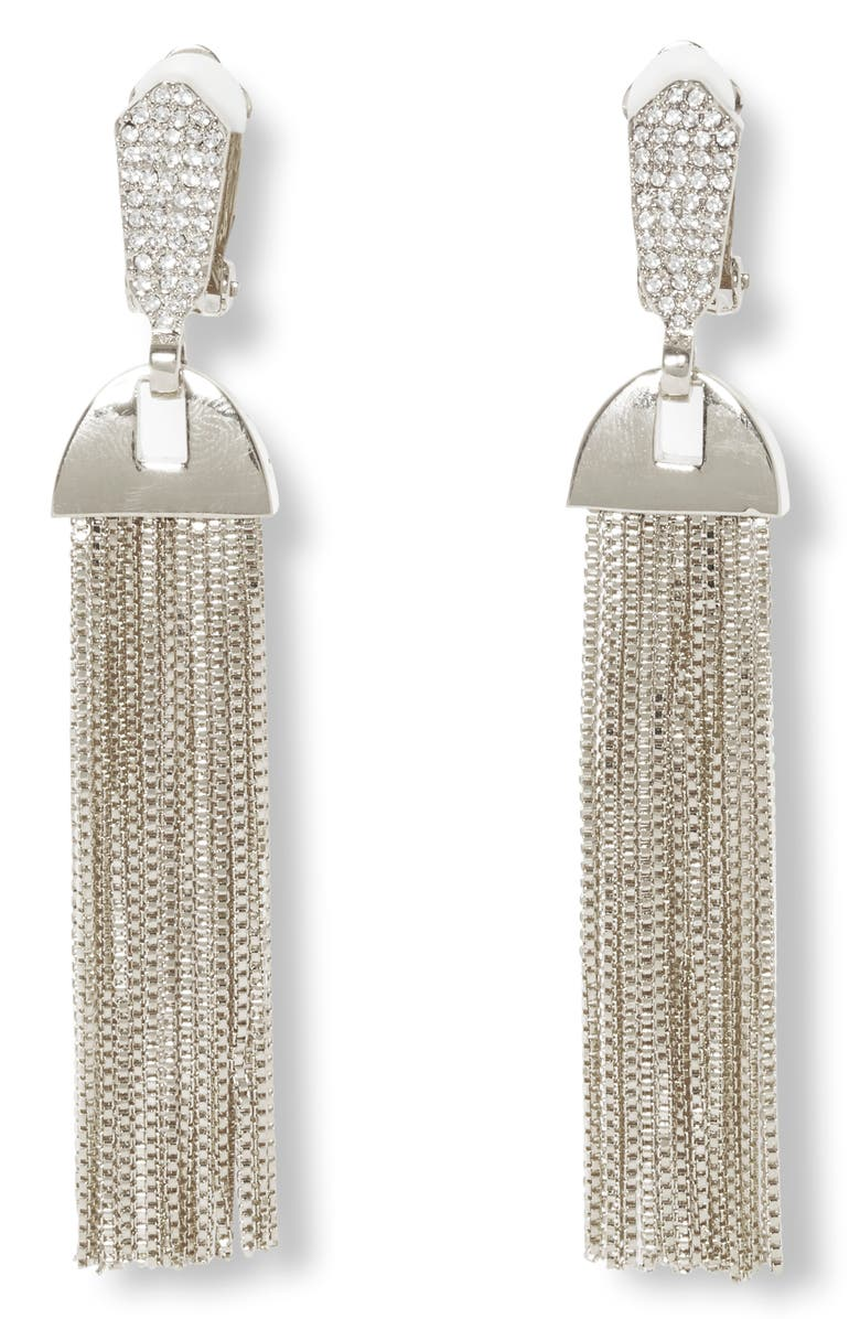 VINCE CAMUTO Pavé & Chain Tassel Clip-On Drop Earrings, Main, color, 041
