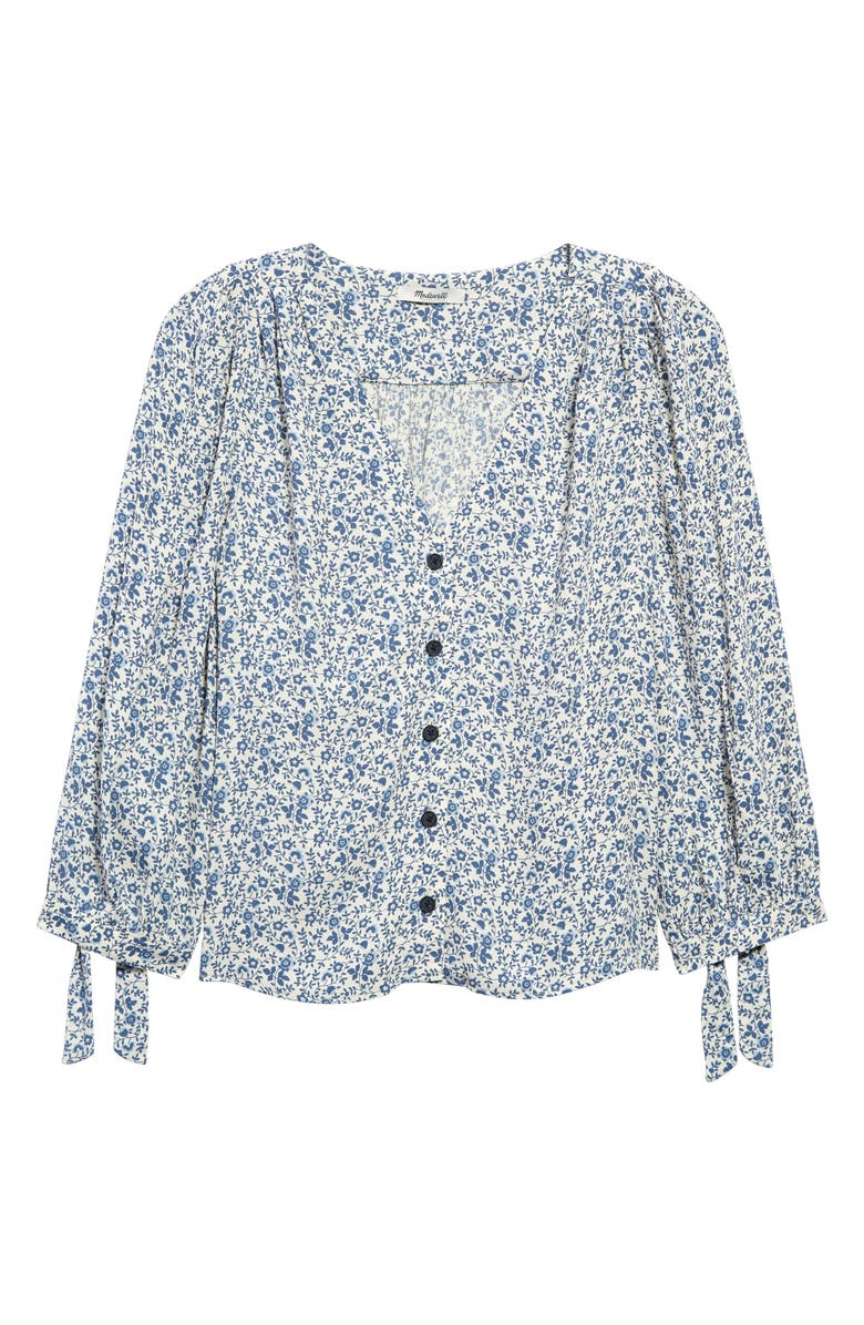 MADEWELL Americana Floral Tie Sleeve Button Front Top, Main, color, VINE FLORAL VINTAGE PARCHMENT