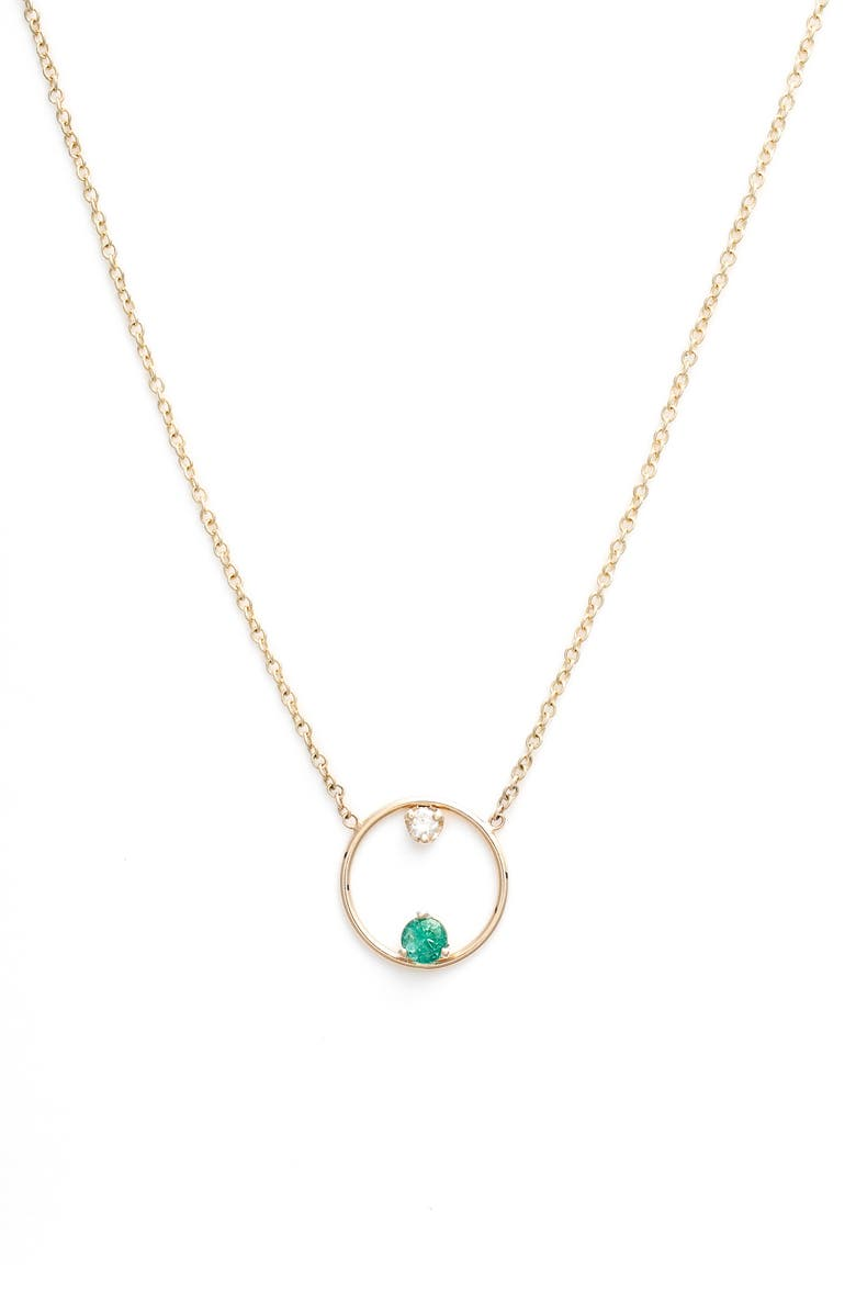 ZOË CHICCO Emerald and Diamond Open Circle Necklace, Main, color, YELLOW GOLD/ EMERALD