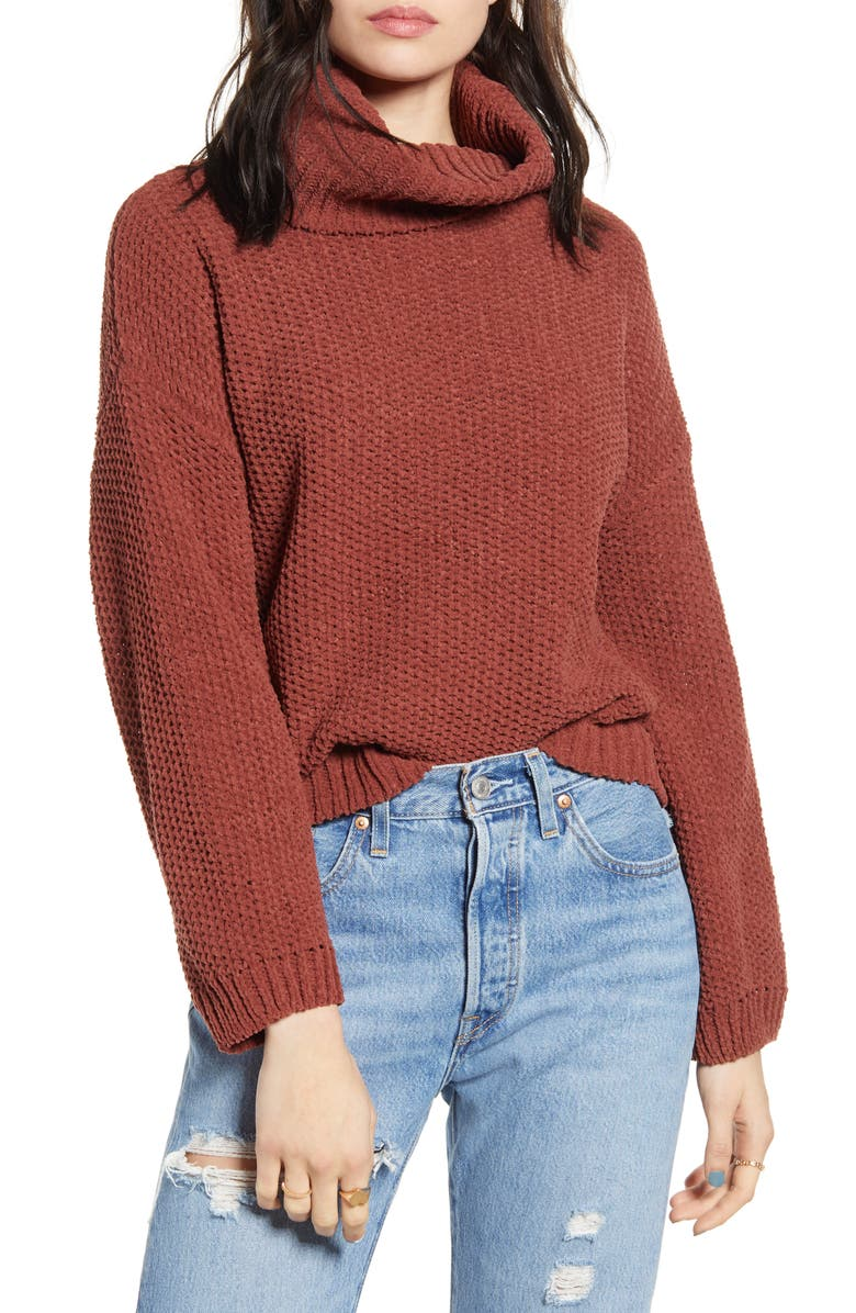WOVEN HEART Chenille Turtleneck Sweater, Main, color, 200