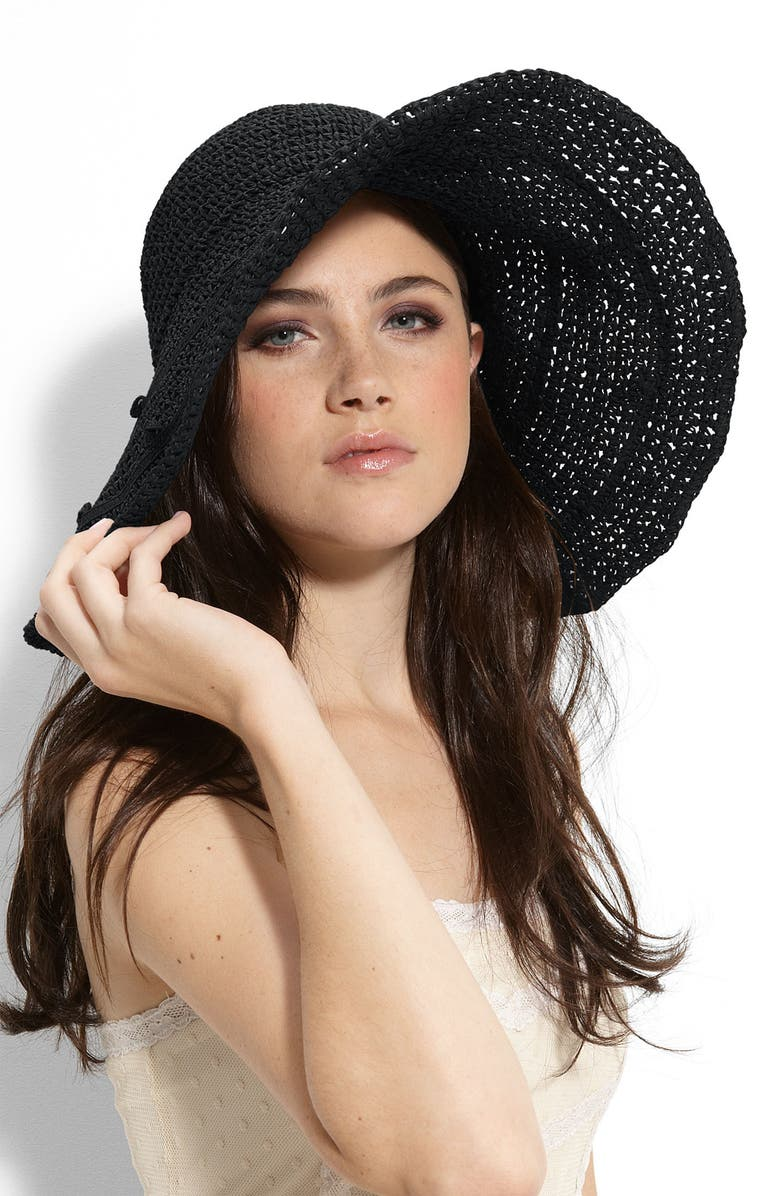 COLLECTION XIIX Crochet Floppy Straw Hat, Main, color, 001