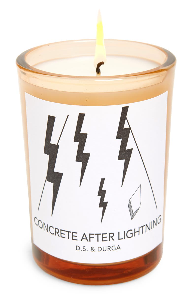 D.S. & DURGA Concrete After Lightning Scented Candle, Main, color, White