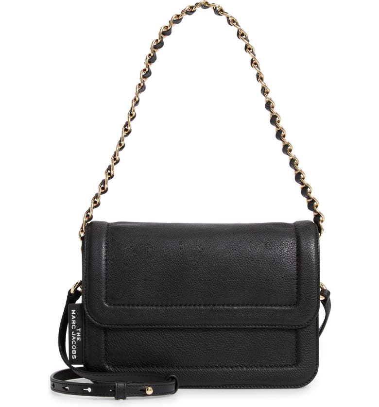 THE MARC JACOBS The Cushion Leather Shoulder Bag, Main, color, 001