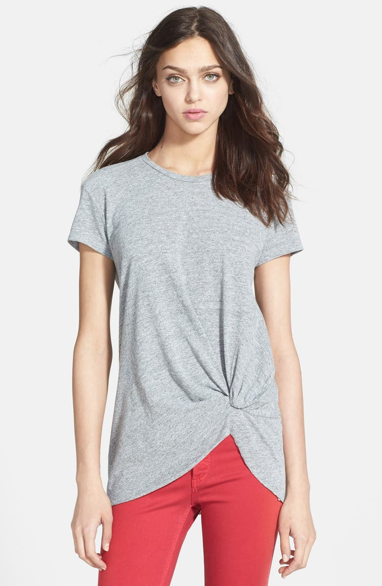 STATESIDE Knot Detail Heathered Tee, Main, color, HEATHER GREY
