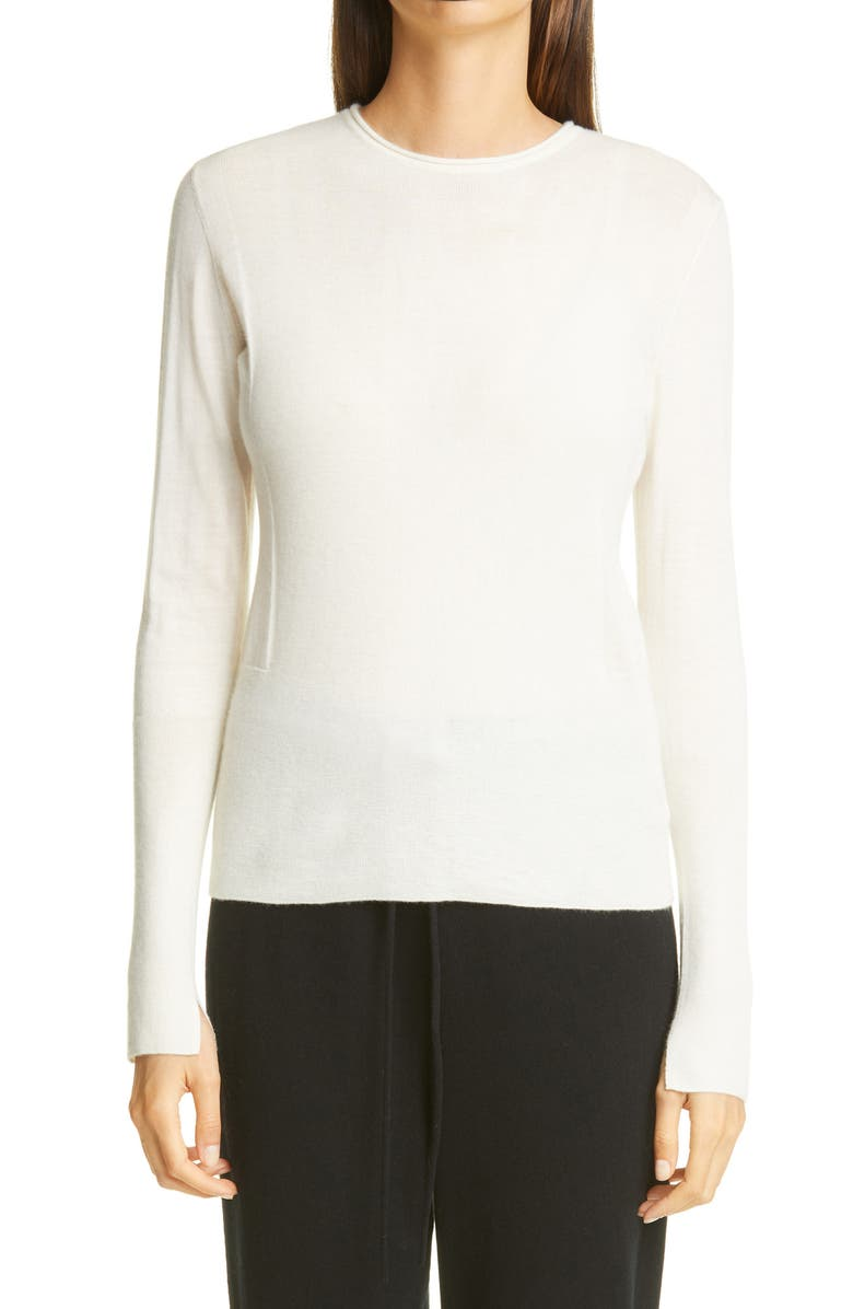 ST. JOHN COLLECTION Fitted Cashmere Crewneck Sweater, Main, color, IVORY