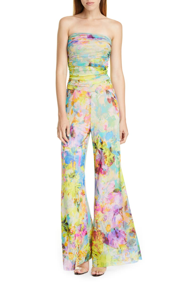 FUZZI Floral Print Strapless Jumpsuit, Main, color, 400
