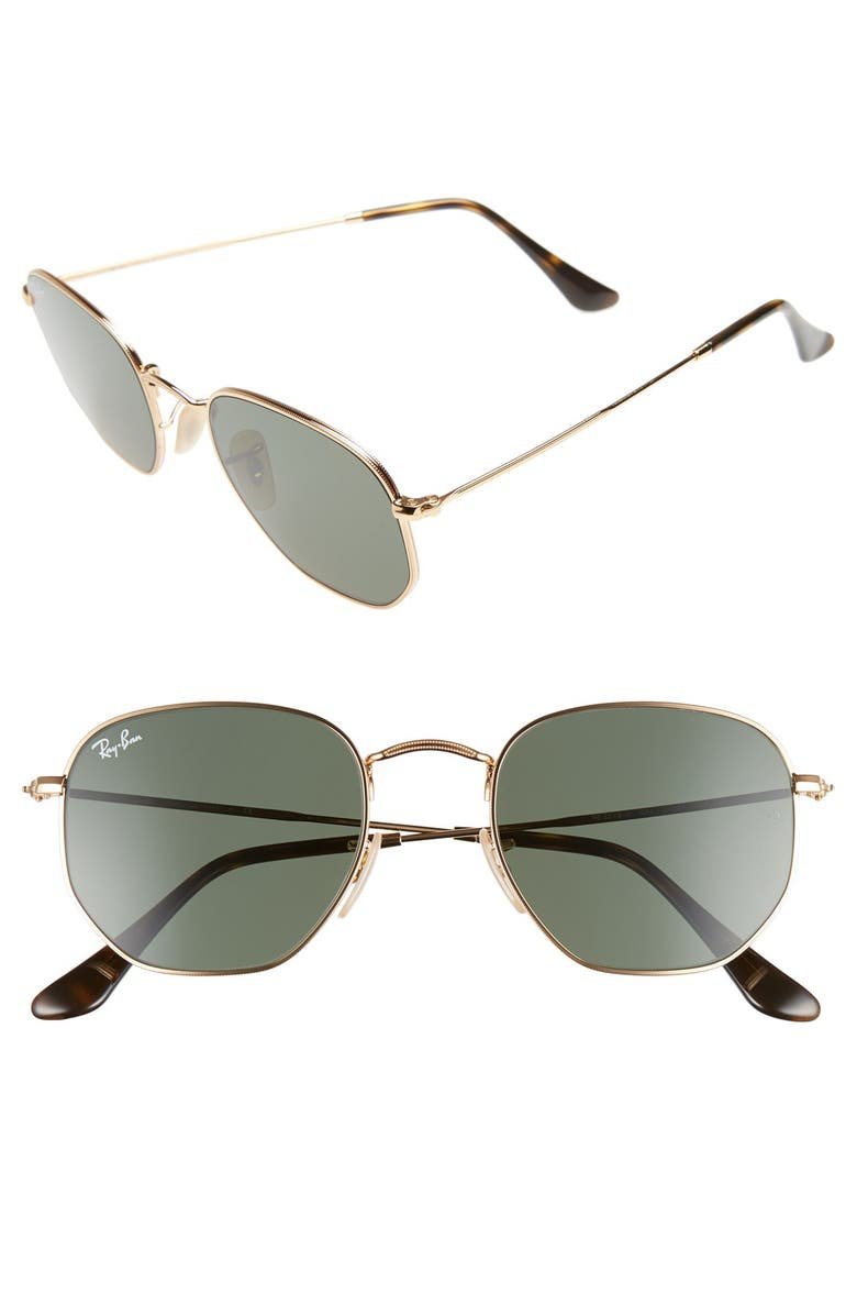 RAY-BAN 51mm Hexagonal Flat Lens Sunglasses, Main, color, METAL GOLD/ GREEN