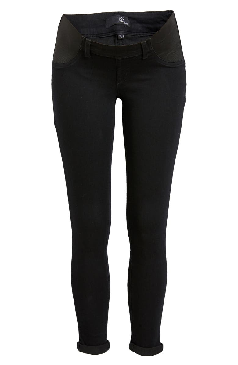 1822 DENIM Re:Denim Maternity Skinny Jeans, Main, color, Black