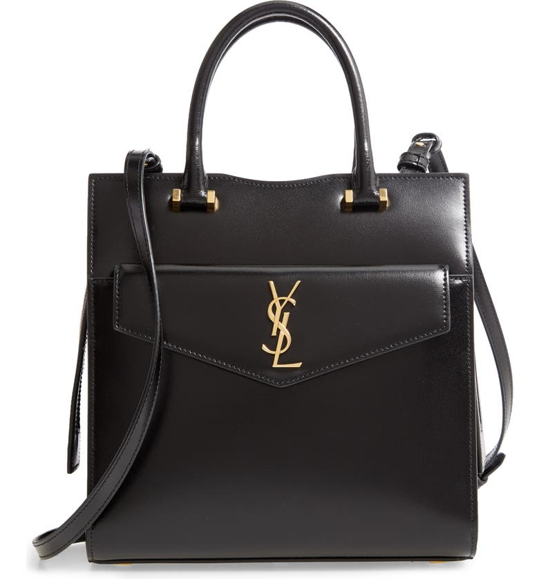 SAINT LAURENT Small Uptown Cabas Leather Satchel, Main, color, 001