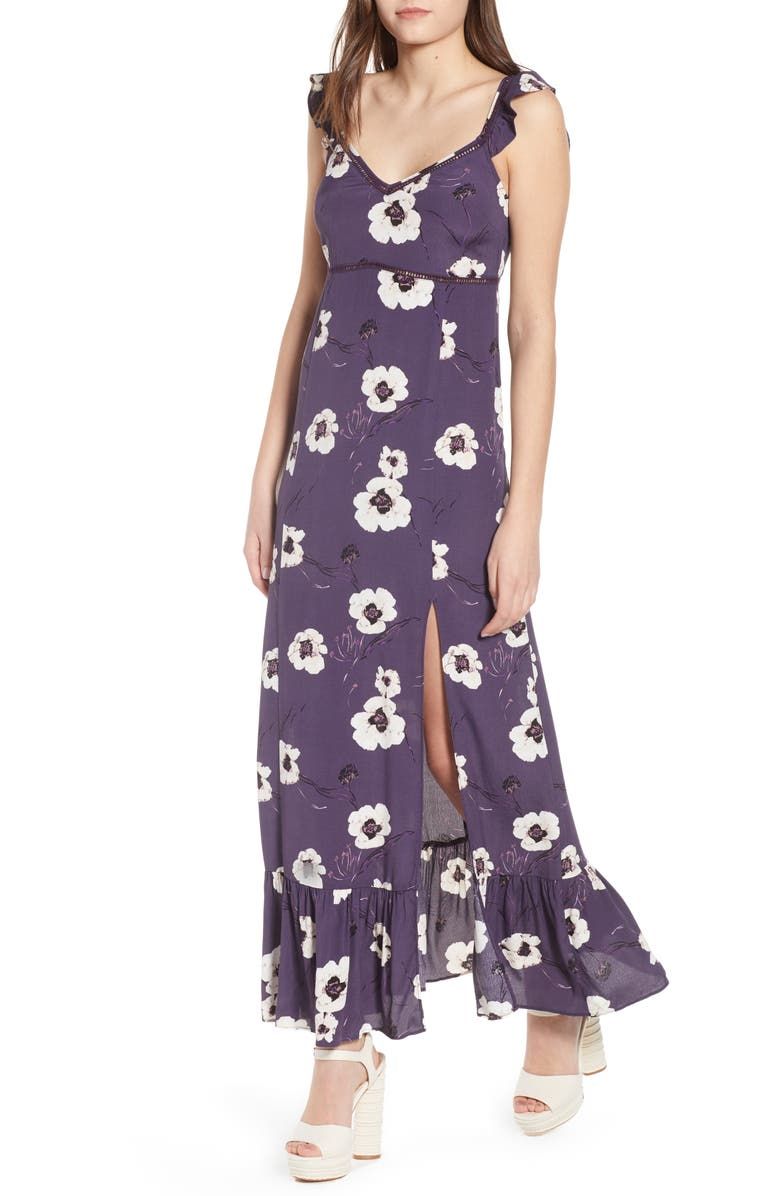 LEITH Ruffle Maxi Dress, Main, color, PURPLE NIGHT PAINTERLY FLORAL