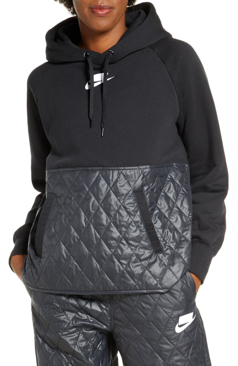 NIKE Sportswear Logo Mixed Media Quilted Hoodie, Main, color, 010