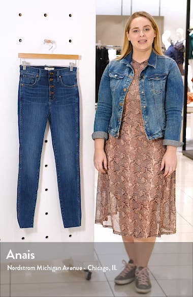 Button Front 10-Inch High Rise Skinny Jeans, sales video thumbnail