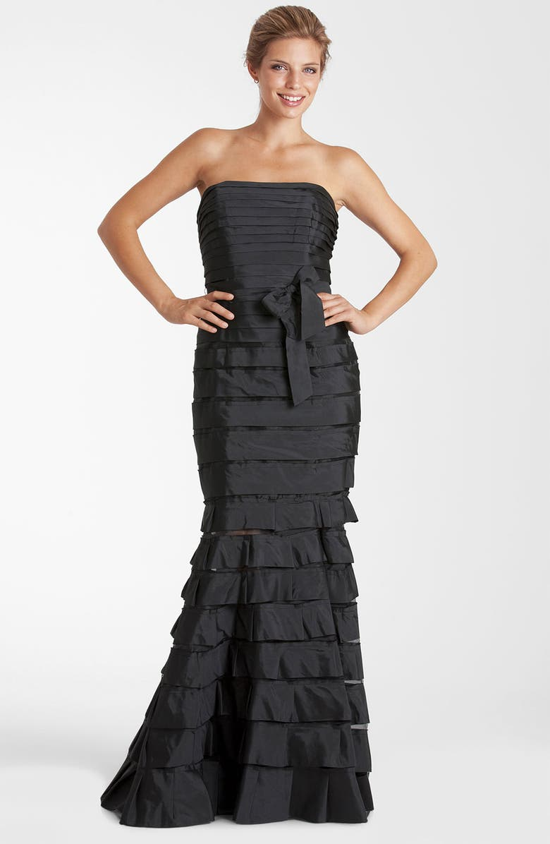 JS COLLECTIONS Strapless Tiered Taffeta Trumpet Gown, Main, color, Black