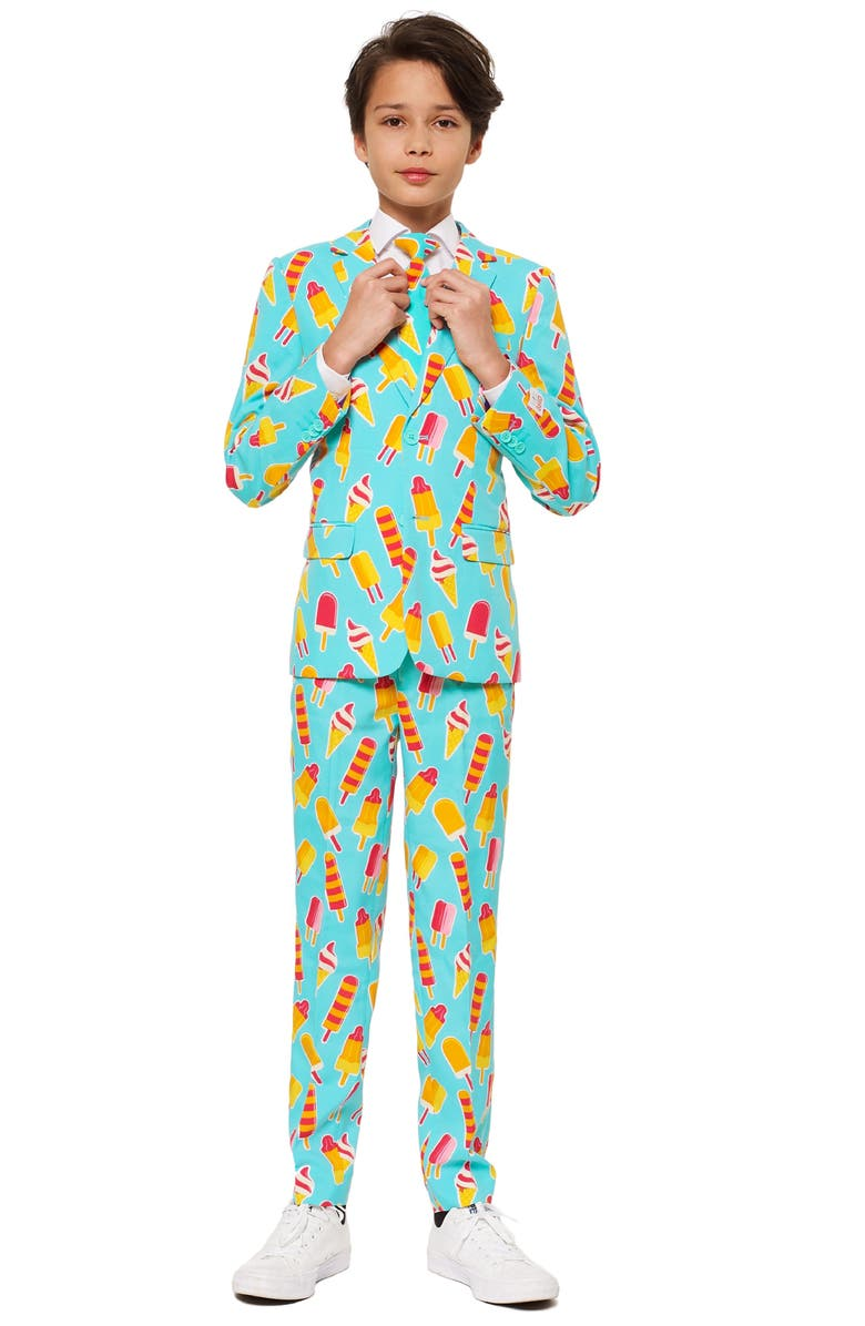 OPPOSUITS Cool Cones Two-Piece Suit with Tie, Main, color, BLUE/ GREEN