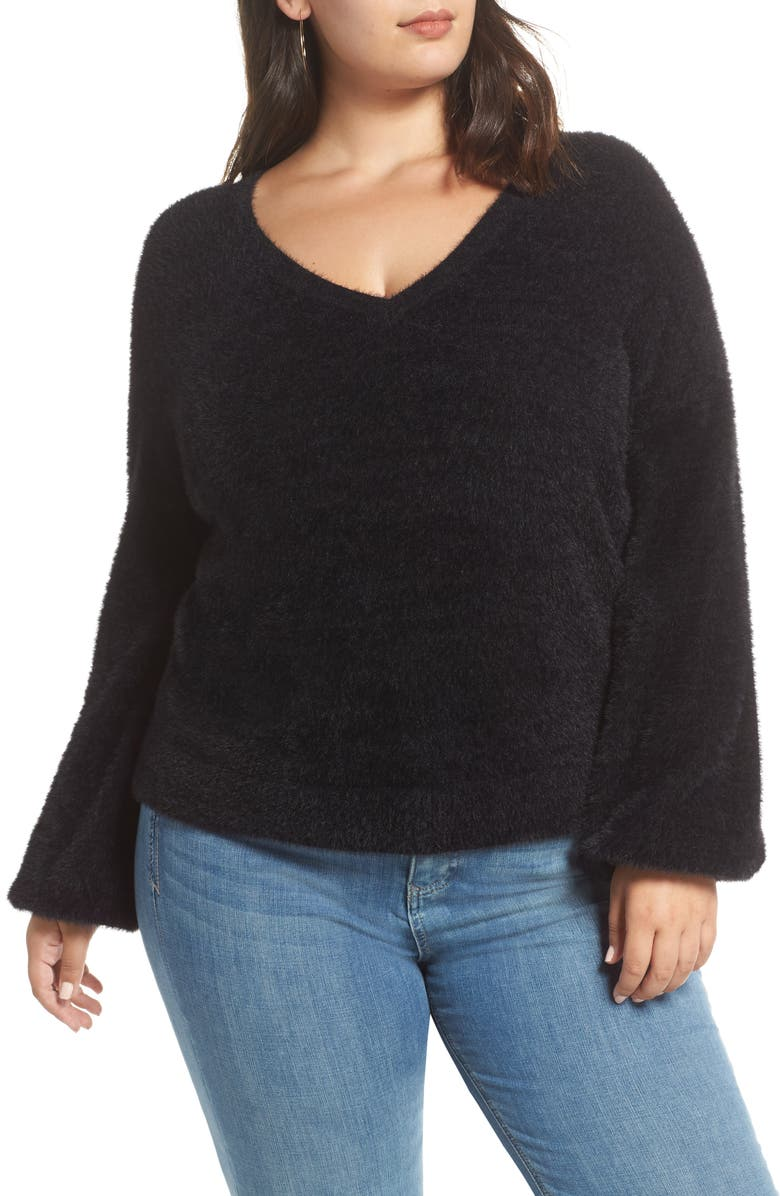 HALOGEN<SUP>®</SUP> Fuzzy V-Neck Sweater, Main, color, 001