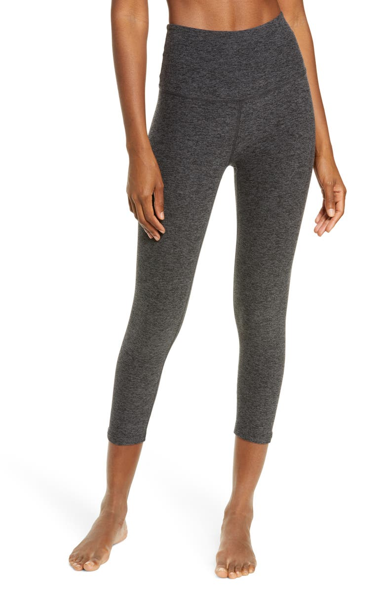 BEYOND YOGA High Waist Capris, Main, color, BLACK-CHARCOAL