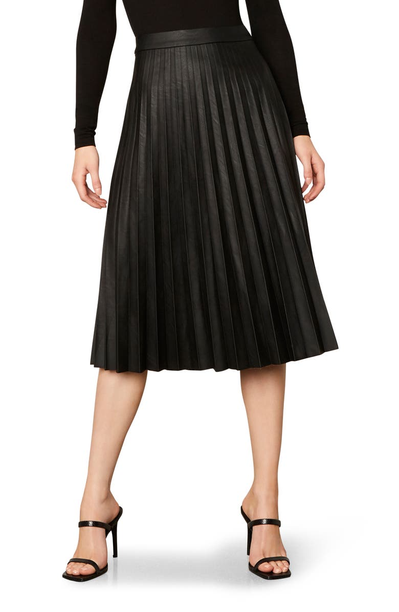 CUPCAKES AND CASHMERE Carole Pleated Faux Leather Skirt, Main, color, BLACK