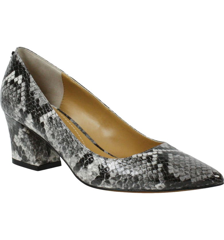 J. RENEÉ Fatemeh Block Heel Pump, Main, color, BLACK/ WHITE SNAKE PRINT