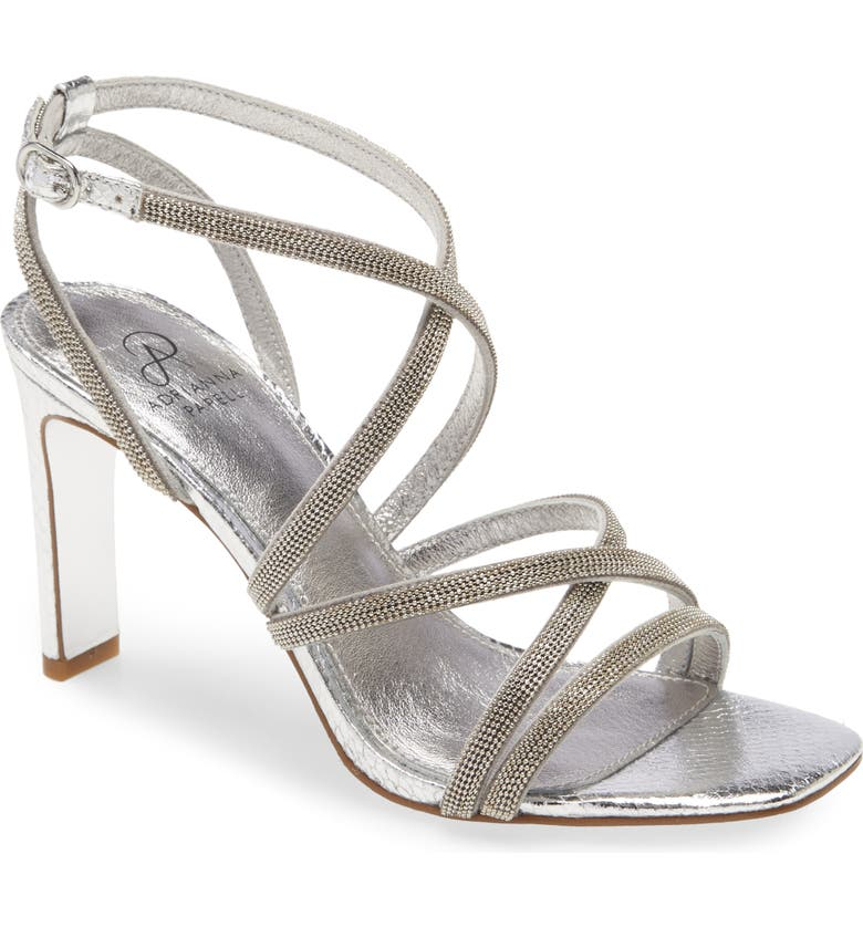 ADRIANNA PAPELL Armada Strappy Sandal, Main, color, SILVER GLITTER