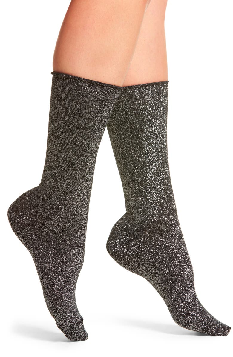 HUE Metallic Roll Top Socks, Main, color, 001