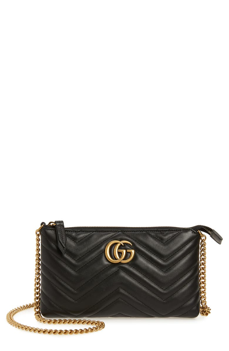 GUCCI Marmont 2.0 Leather Wallet on a Chain, Main, color, 001