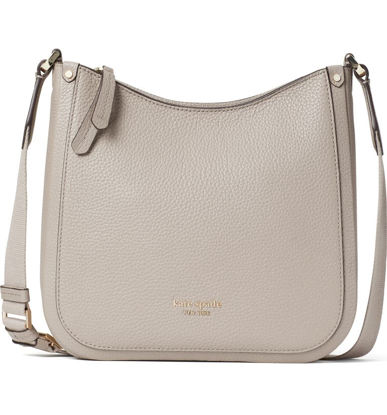 KATE SPADE NEW YORK roulette medium leather messenger bag, Main, color, WARM TAUPE
